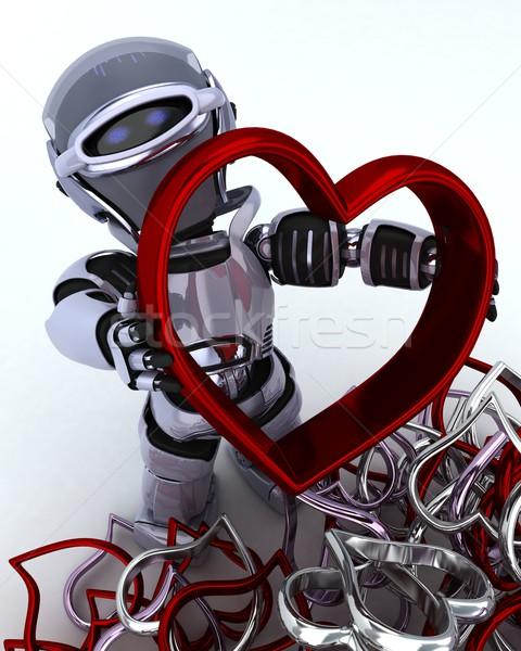 Robô coração encanto 3d render amor homem Foto stock © kjpargeter