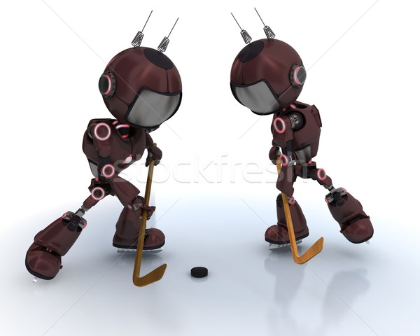 Stock photo: Androids playing ice hockey