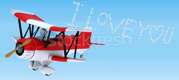 человека небе Дать биплан 3d визуализации самолет Сток-фото © kjpargeter