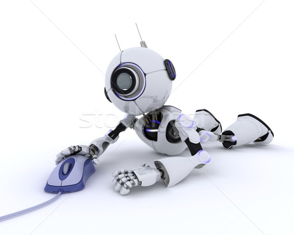 Robot with a computer mouse Stock photo © kjpargeter