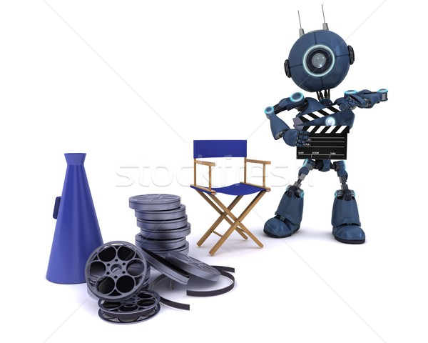 Stock photo: Android in directors chair with megaphone