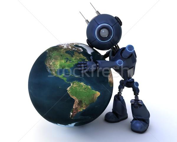 Android földgömb 3d render technológia robot bolygó Stock fotó © kjpargeter