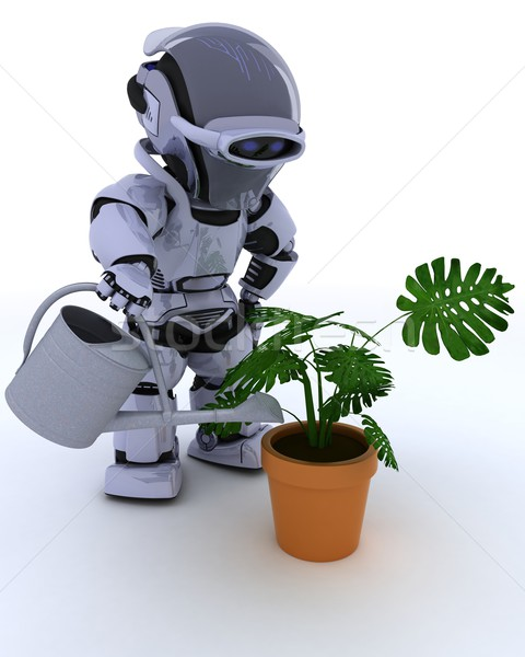 Robô regador planta 3d render homem Foto stock © kjpargeter