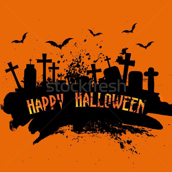 Grunge halloween drzewo krzyż tle Zdjęcia stock © kjpargeter