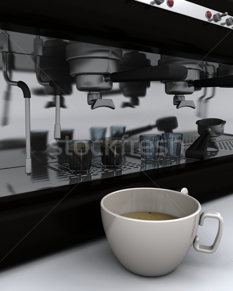 espresso machine and cup of coffee Stock photo © kjpargeter