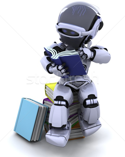Robot boeken 3d render boek studie bibliotheek Stockfoto © kjpargeter