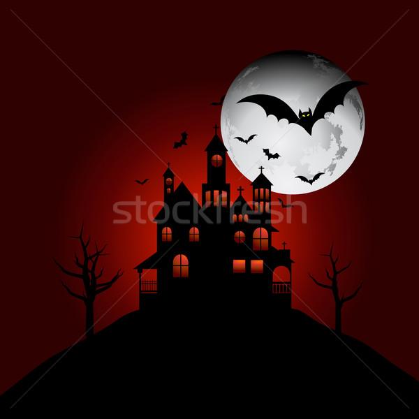 Kisértetjárta ház domb kereszt hold éjszaka Stock fotó © kjpargeter