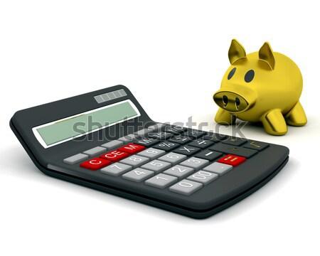 Persely számológép 3d render pénz siker stock Stock fotó © kjpargeter