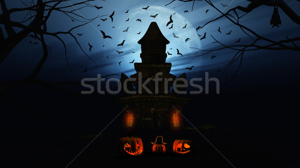 3D Halloween background with pumpkins and spooky castle Stock photo © kjpargeter
