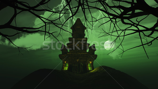 3D background with spooky castle in haunting landscape Stock photo © kjpargeter