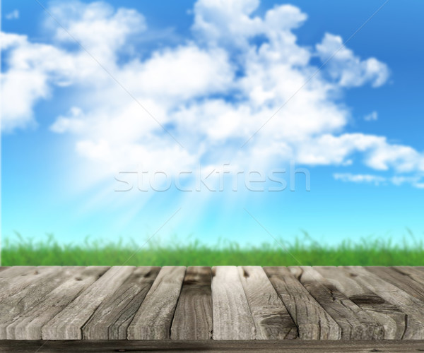 3D table en bois herbeux paysage ciel arbre Photo stock © kjpargeter