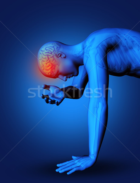 3D male figure with brain highlighted Stock photo © kjpargeter