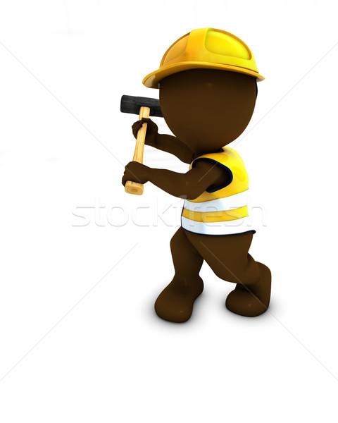 3D Morph Man Builder with sledgehammer Stock photo © kjpargeter