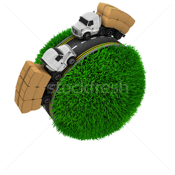 дороги вокруг травянистый мира 3d визуализации трава Сток-фото © kjpargeter
