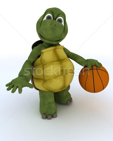 Teknősbéka játszik kosár labda 3d render kosárlabda Stock fotó © kjpargeter