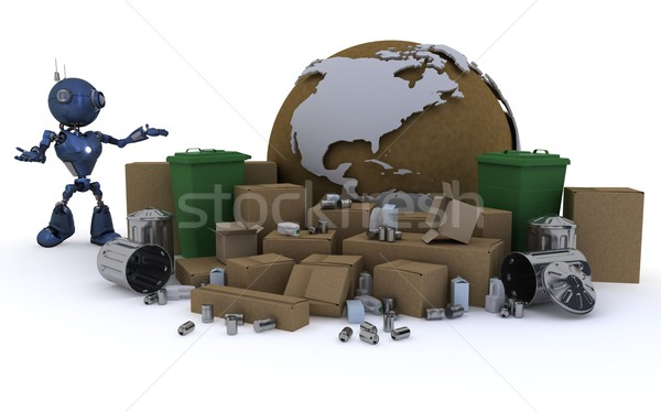 Android recycling 3d render technologie robot recycleren Stockfoto © kjpargeter