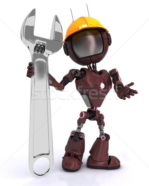 Android Builder Schraubenschlüssel Mann Bau Stock foto © kjpargeter