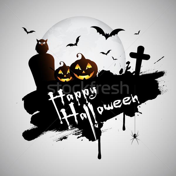 Grunge halloween dynia wiszący pająk krzyż Zdjęcia stock © kjpargeter