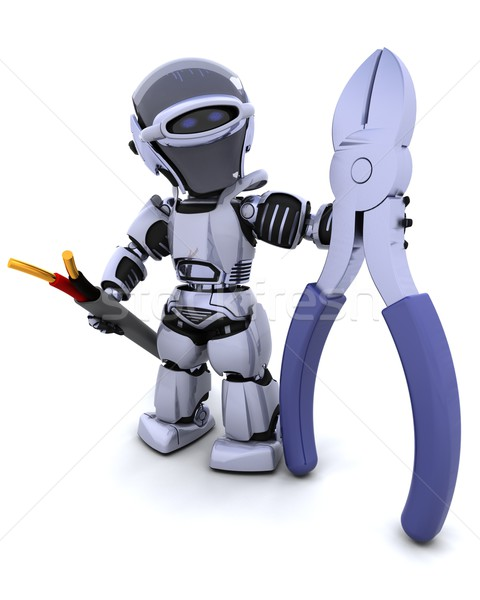 robot with wire cutters and cable Stock photo © kjpargeter