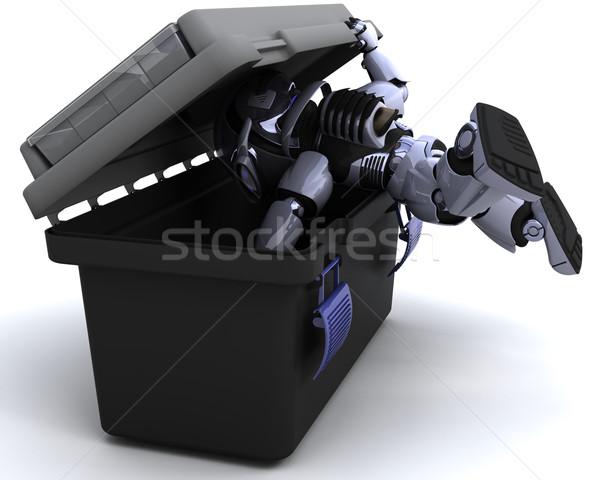 ストックフォト: ロボット · 検索 · ツールボックス · 3dのレンダリング · 建設 · 将来
