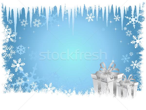 Karácsony ajándék háttér tél csillag ajándék Stock fotó © kjpargeter