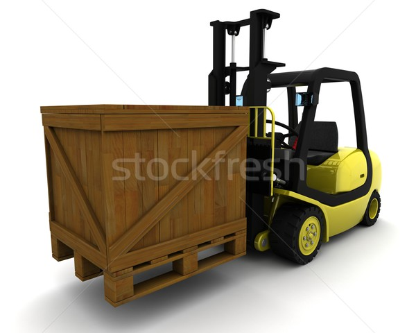Yellow Fork Lift Truck on White Stock photo © kjpargeter