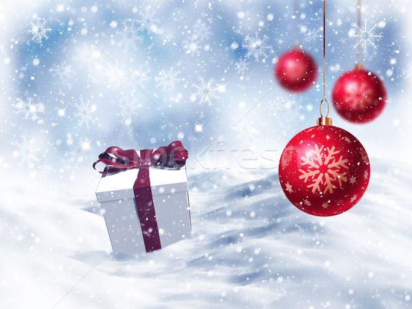 3D Christmas gift nestled in snow with hanging baubles Stock photo © kjpargeter