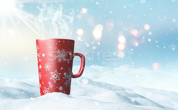 Christmas mug nestled in snow Stock photo © kjpargeter