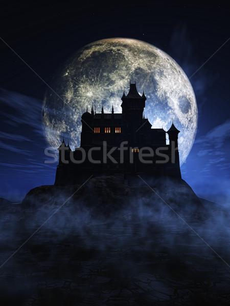 3D halloween kasteel 3d render maan Stockfoto © kjpargeter