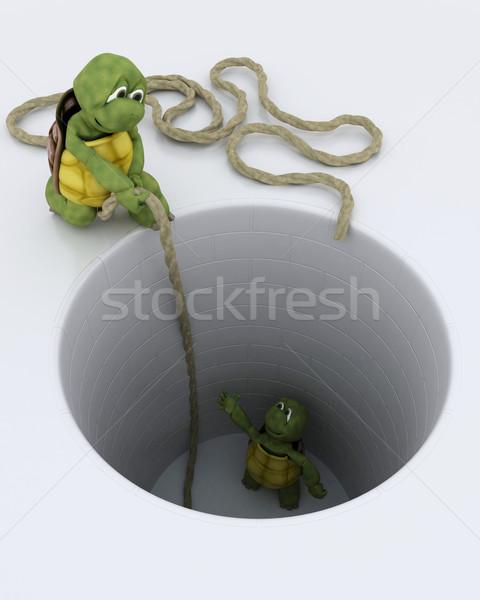 tortoise stuck in a hole metaphor Stock photo © kjpargeter