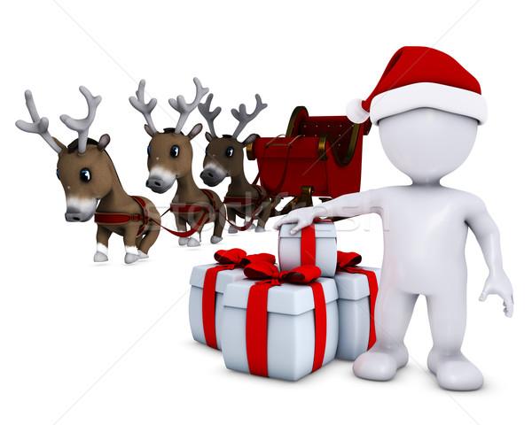 morph man santa and reindeer Stock photo © kjpargeter