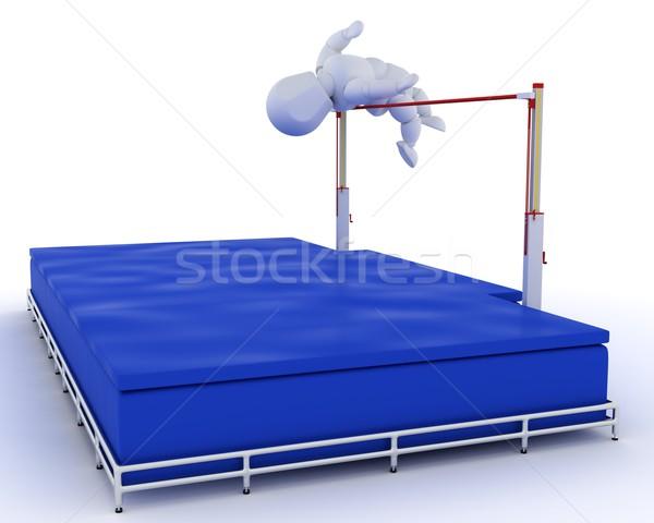 Hombre salto de altura 3d deporte campo Foto stock © kjpargeter