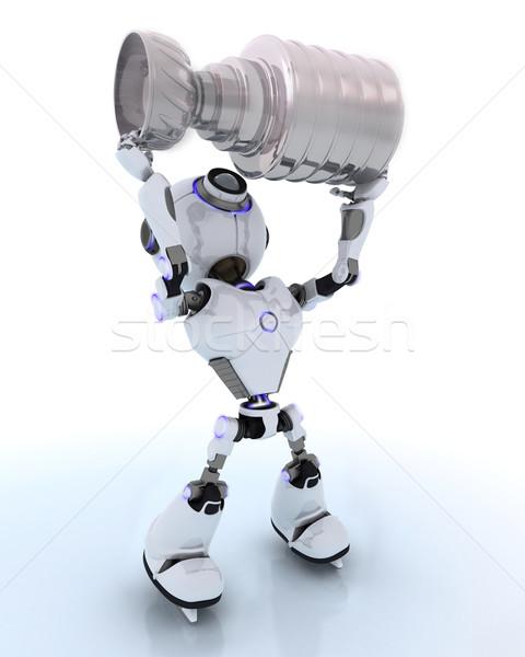 Robot jégkorong bajnok 3d render arc férfi Stock fotó © kjpargeter
