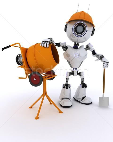 Robot constructeur ciment mixeur rendu 3d homme Photo stock © kjpargeter