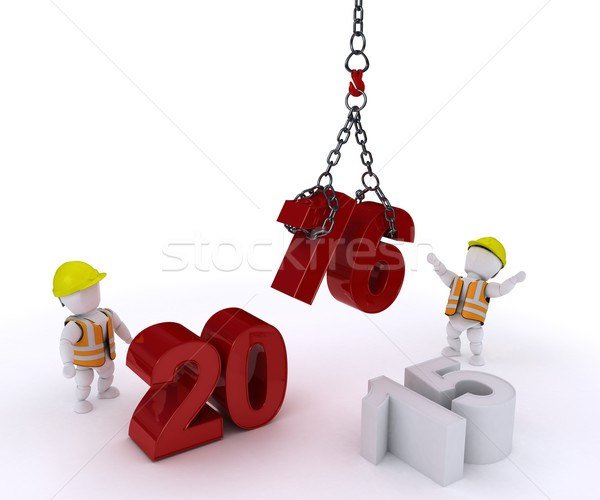 3D Man bringing in the new year Stock photo © kjpargeter