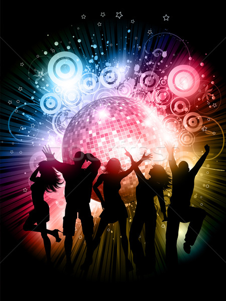 Buli sziluettek emberek tánc absztrakt grunge Stock fotó © kjpargeter