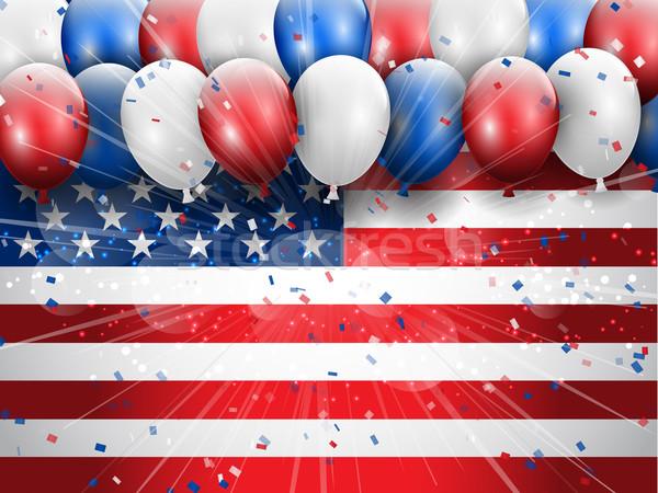 Dag viering ballonnen confetti partij Stockfoto © kjpargeter
