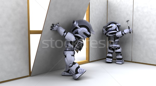 robot contractor building a drywall Stock photo © kjpargeter