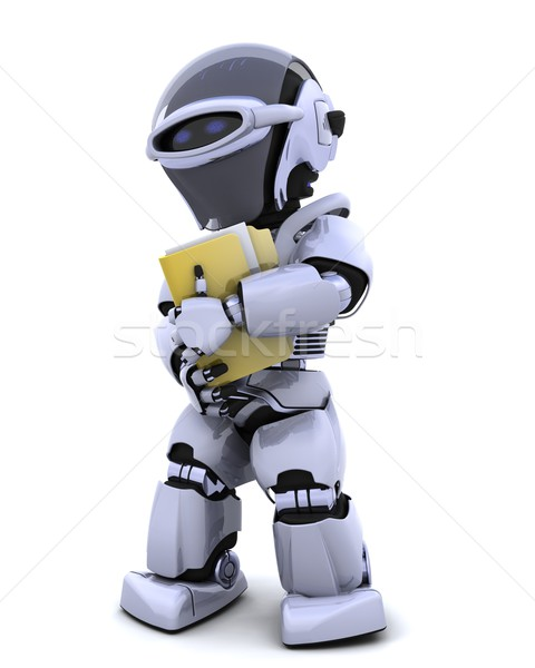 Robot document dossier rendu 3d avenir modernes Photo stock © kjpargeter
