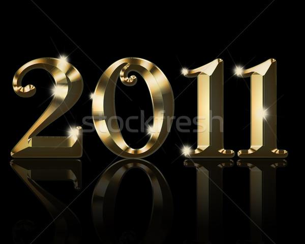 Złota stylu 2011 czarny błyszczący tle Zdjęcia stock © kjpargeter