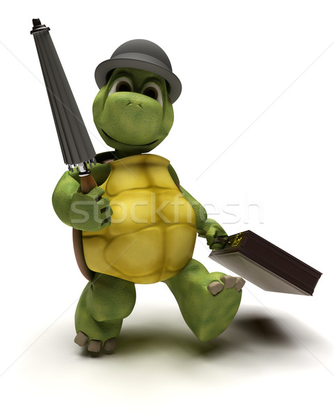 Tortoise with bowler hat and brief case Stock photo © kjpargeter