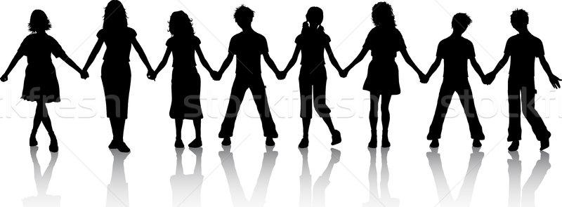 Dzieci trzymając się za ręce sylwetki dziewczyna tłum znajomych Zdjęcia stock © kjpargeter