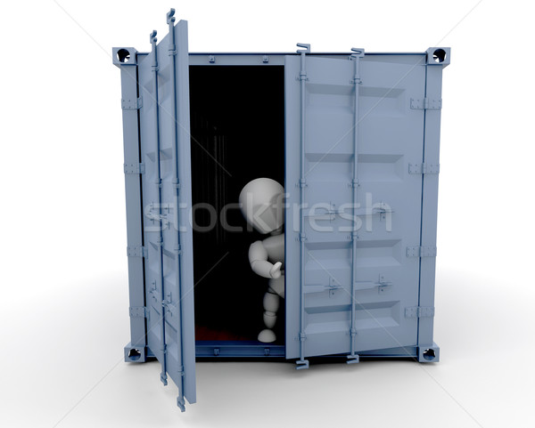 Person inside freight container Stock photo © kjpargeter