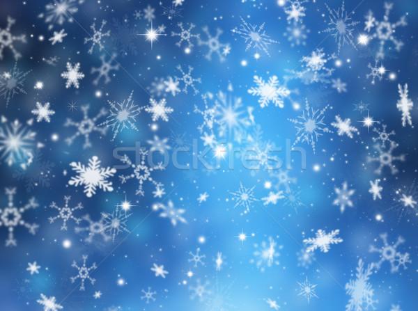 Сток-фото: снежинка · Рождества · звезды · снега · звездой