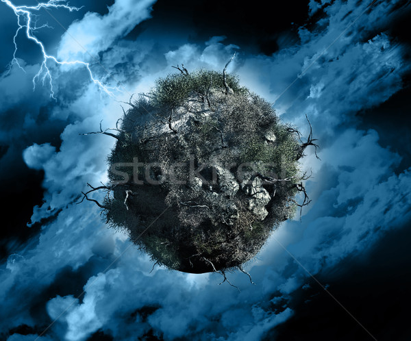 グローバル 嵐 3dのレンダリング 世界中 死んだ 木 ストックフォト © kjpargeter