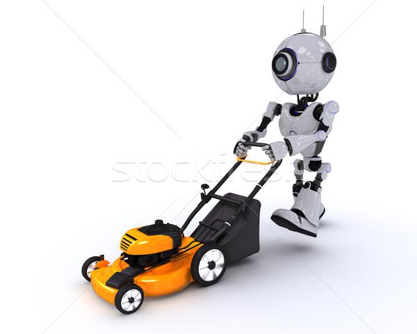 Robot fűnyíró 3d render férfi kert jövő Stock fotó © kjpargeter