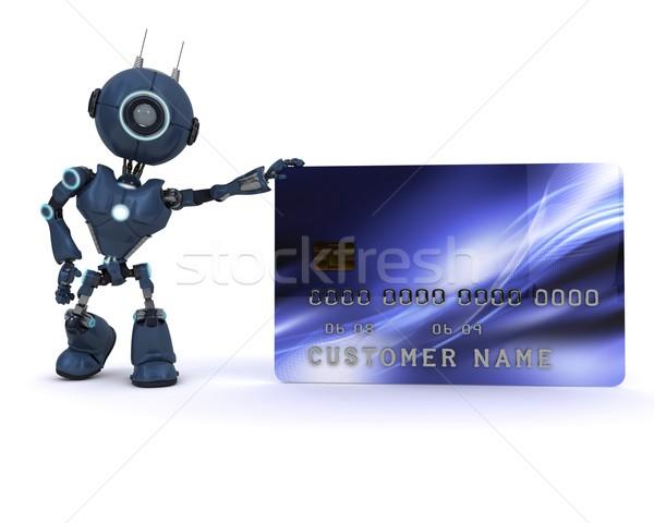 Android кредитных карт 3d визуализации человека Сток-фото © kjpargeter