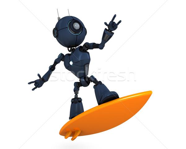 Android sörfçü 3d render plaj adam deniz Stok fotoğraf © kjpargeter