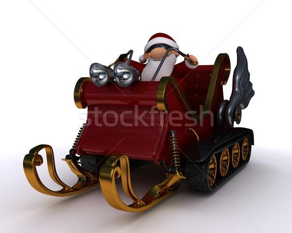 santa in a snowmobile sleigh Stock photo © kjpargeter
