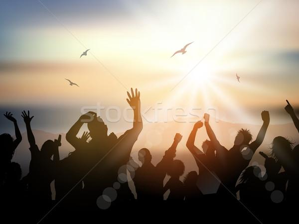 Nyár buli emberek sziluett tömeg égbolt Stock fotó © kjpargeter